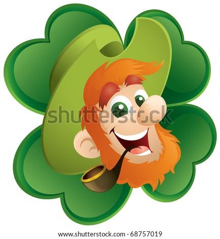 Fun Leprechaun And Four-Leaf Clover - stock vector