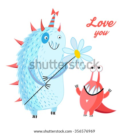 fun loving monsters on a white background - stock vector