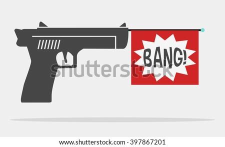 fun message gun for advertise - stock vector