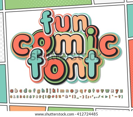 Fun multicolored high detail comic font and comic book page. Alphabet in style of comics, pop art. Multilayer funny letters and figures for illustrations, websites, posters, comics, banners - stock vector