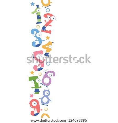 Fun numbers vertical seamless pattern background border - stock vector