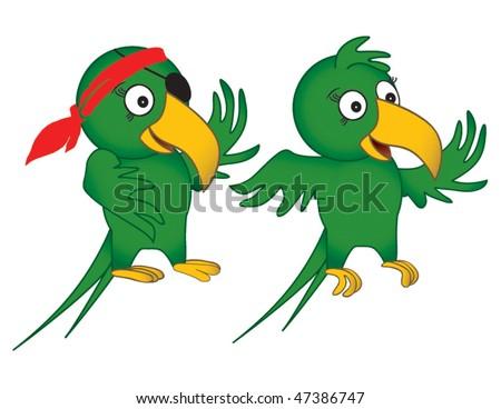 Fun Parrot Drawings in Vector Format - stock vector