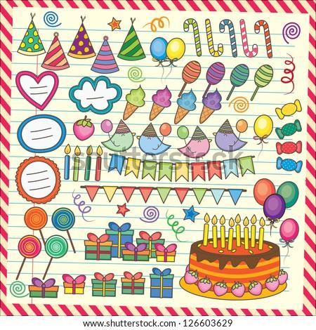 Fun Party Elements Clip Art Set - stock vector