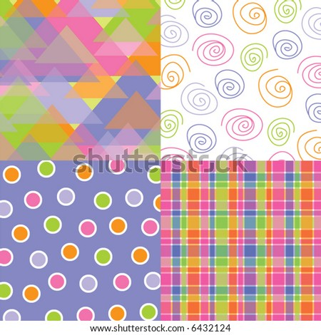 fun pastel triangles, dots, plaid and scribble quads (vector) - stock vector