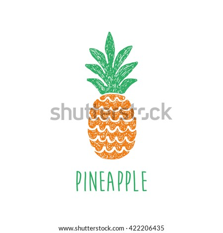 fun pineapple vector illustration - stock vector