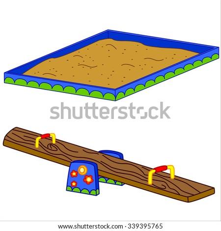 Fun playground. Cartoon vector Illustration of playground equipment. Isolated. - stock vector