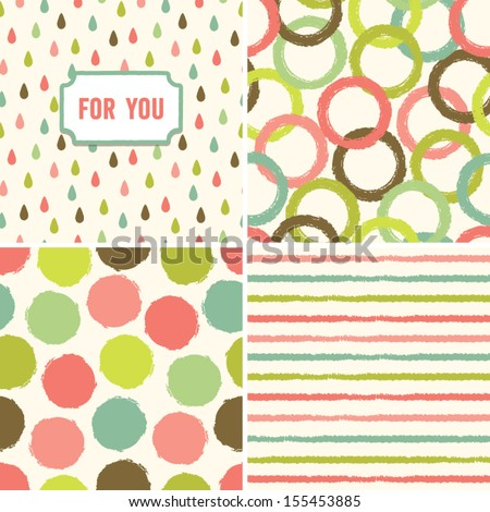 Fun seamless hipster background pattern set in peach pink and green. Good for Baby Shower, Birthday, Easter, Wedding, Greeting Cards, Mothers Day, scrapbook, gift wrapping paper, surface textures. - stock vector
