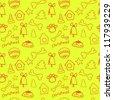 Fun seamless pattern on yellow (lemon) background -  christmas for dog - stock vector