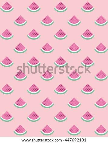 Fun seamless watermelon pattern. Vector illustration. - stock vector