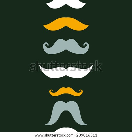 Fun silhouette mustaches vertical seamless pattern background - stock vector