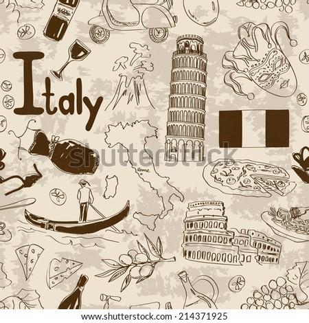 Fun sketch Italy seamless pattern - stock vector