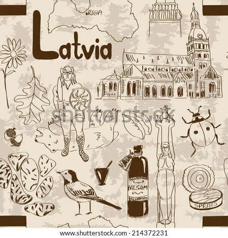 Fun sketch Latvia seamless pattern