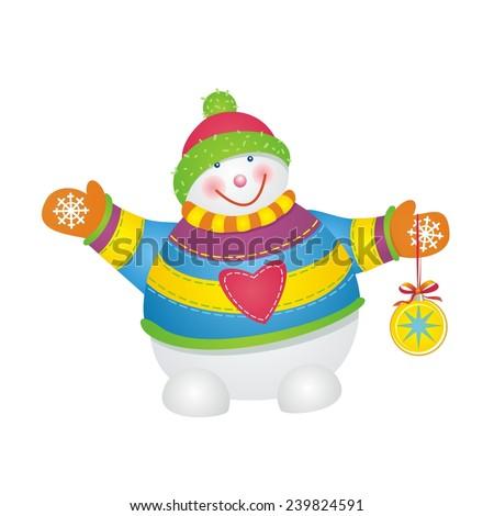 Fun snowman. Vector illustration. - stock vector