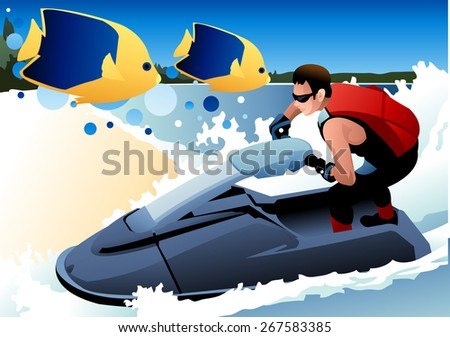 Fun Summer Vacation - healthy athletic male riding jetski with cute butterfly fish at beautiful tropical island on blue background with splash and bubble patterns : vector illustration - stock vector