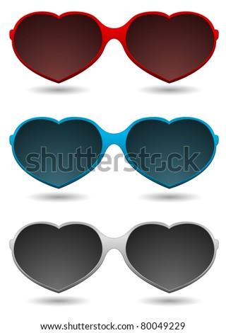 fun sunglasses - heart shape - stock vector