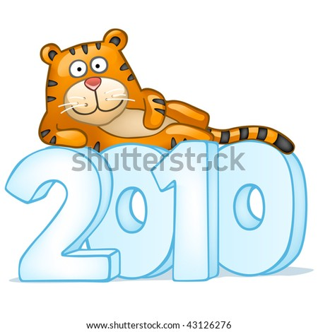 Fun tiger lie on snow figures - stock vector