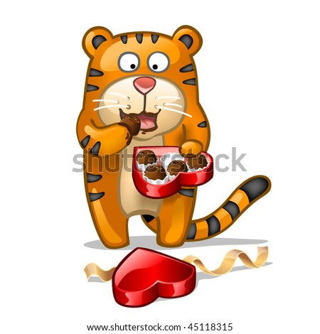 Fun tiger with box of chocolate candies - stock vector