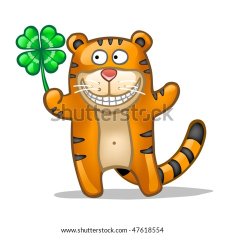 Fun tiger with lucky leaf clover - stock vector
