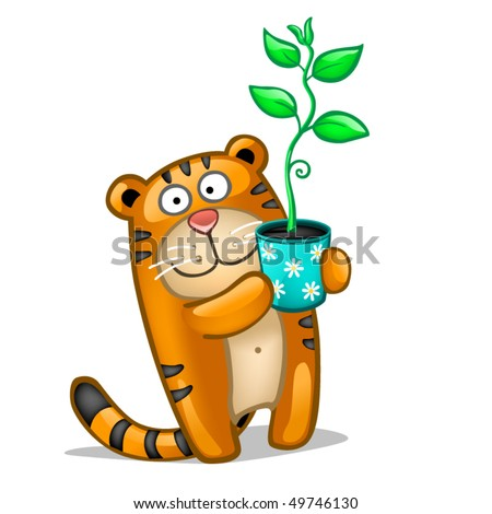 Fun tiger with plant - stock vector