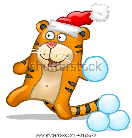 Fun tiger with snowball - stock vector