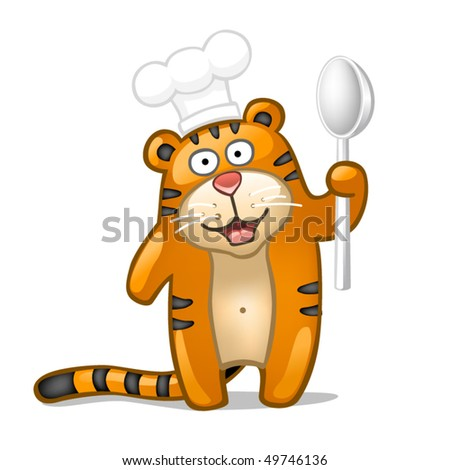 Fun tiger with spoon - stock vector