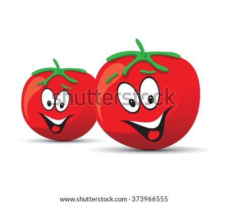 fun tomato smiling face - stock vector