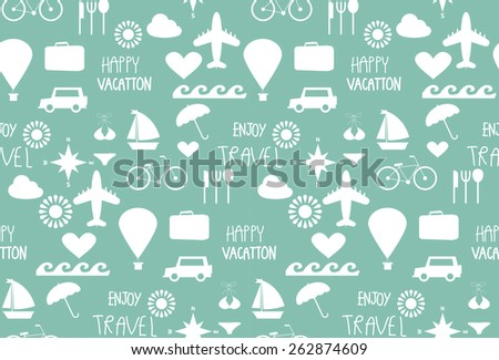 fun travel seamless pattern, tourist , Holidays and vacation. vector,  Pattern Swatches, Endless texture can be used for wallpaper, pattern fills, web page,surface - stock vector