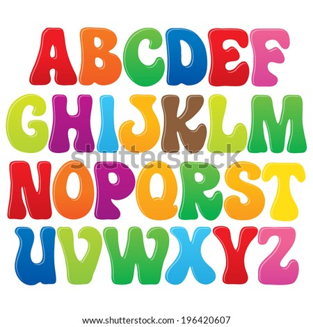 Fun Vector Font Kids 3 Upper Stock 196420607
