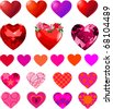Fun vector set of different heart shapes. - stock vector