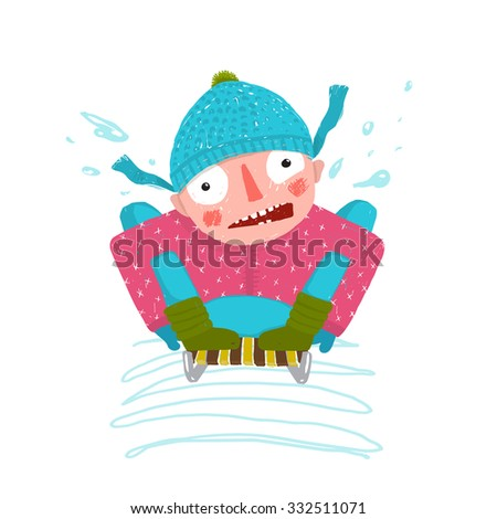 Fun Winter and Snow Sledge Ride Boy. Happy scared cute kid sledding . Colorful kid hand drawn sketchy feel illustration. Vector cartoon. - stock vector