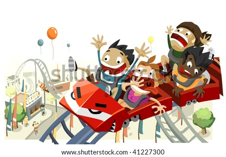 Fun with Roller Coaster. Copy space on top, very detailed illustration, - stock vector