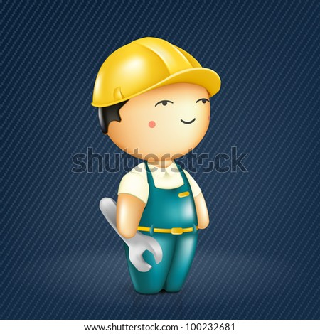 Fun Workman, vector - stock vector