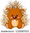 Fun zoo. Illustration of cute Porcupine - stock photo