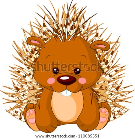 Fun zoo. Illustration of cute Porcupine - stock vector