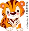 Fun zoo. Illustration of cute Tiger - stock photo