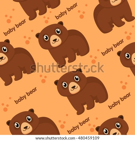 Fun zoo. little bear and text. Seamless vector pattern. Light background. flat illustration