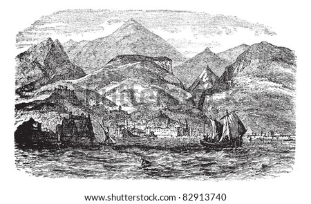 Funchal in Madeira, Portugal , during the 1890s, vintage engraving. Old engraved illustration of Funchal with moving boats in front and city in back. Trousset encyclopedia (1886 - 1891).