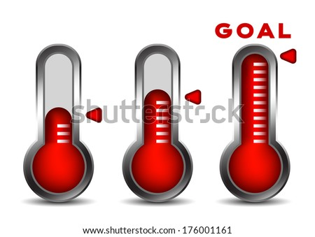 Fund raising concept with thermometers. - stock vector