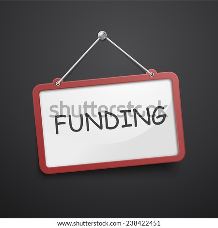 funding hanging sign isolated on black wall  - stock vector