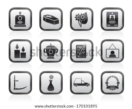 funeral and burial icons - vector icon set - stock vector