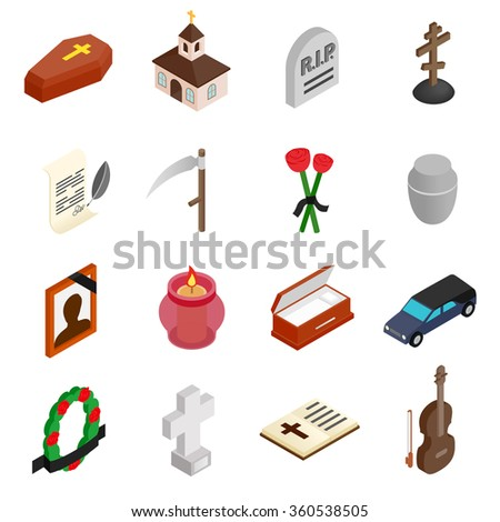 Funeral and burial isometric 3d icons - stock vector