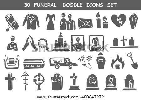 Funeral,burial icons doodle set. Vector hand drawn symbol for web,print,art.Vintage mortuary elements,Funeral,burial symbol. Vector funeral and burial sign,illustration,Funeral,burial icons silhouette - stock vector