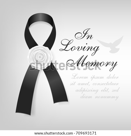 Funeral Card Black Awareness Ribbon White Stock-Vektorgrafik ...