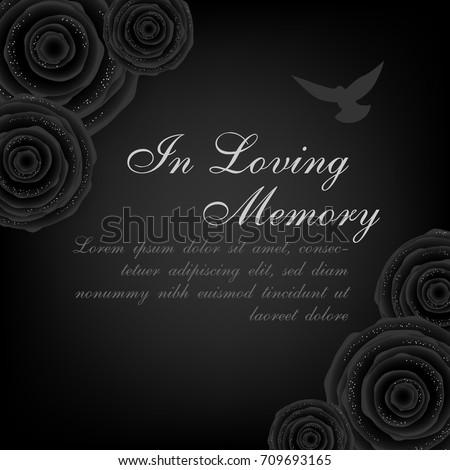 Funeral Card Black Roses Decorations Flying Stock-Vektorgrafik ...