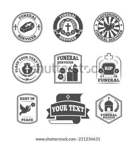 Funeral home undertaking ceremonial service fill in templates labels set with coffin candle pigeon vector isolated illustration - stock vector
