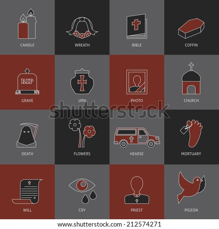 Funeral service eulogy speech tears and ash urn pictograms collection with mortuary toe tag vector isolated illustration - stock vector