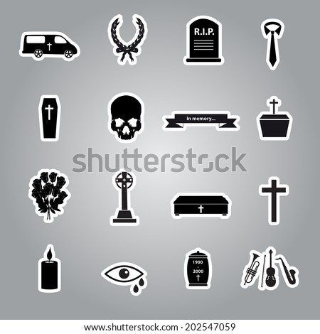 funeral stickers set eps10 - stock vector