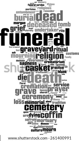 Funeral word cloud concept. Vector illustration - stock vector