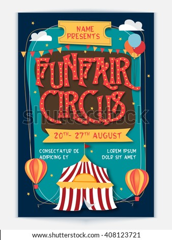 Funfair Circus Template, Banner or Flyer design. Creative colorful vector illustration. - stock vector