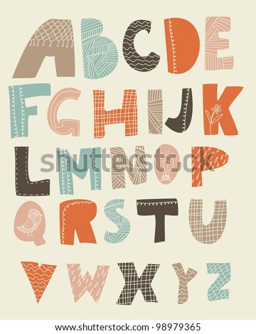 funky alphabet with textures on letters - stock vector